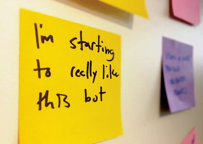 Close up image of a sticky note during a collaborative workshop with Vermonster and HBR